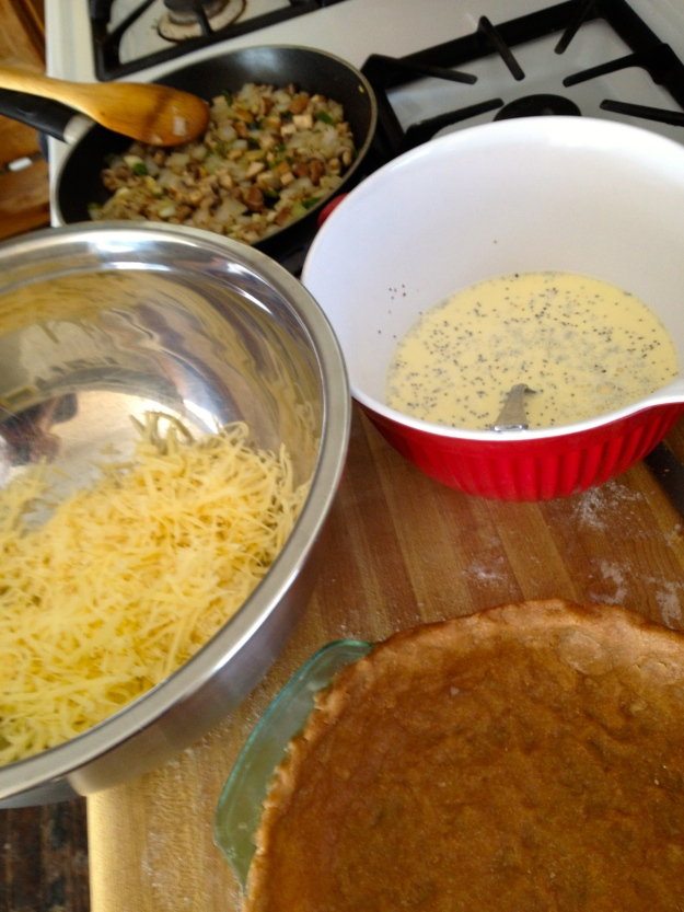 Layering the quiche
