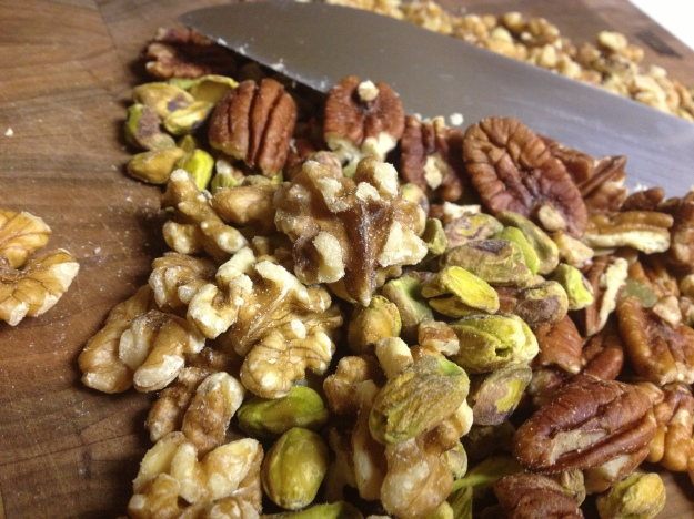 Various, chopped nuts and seeds that I had on hand.