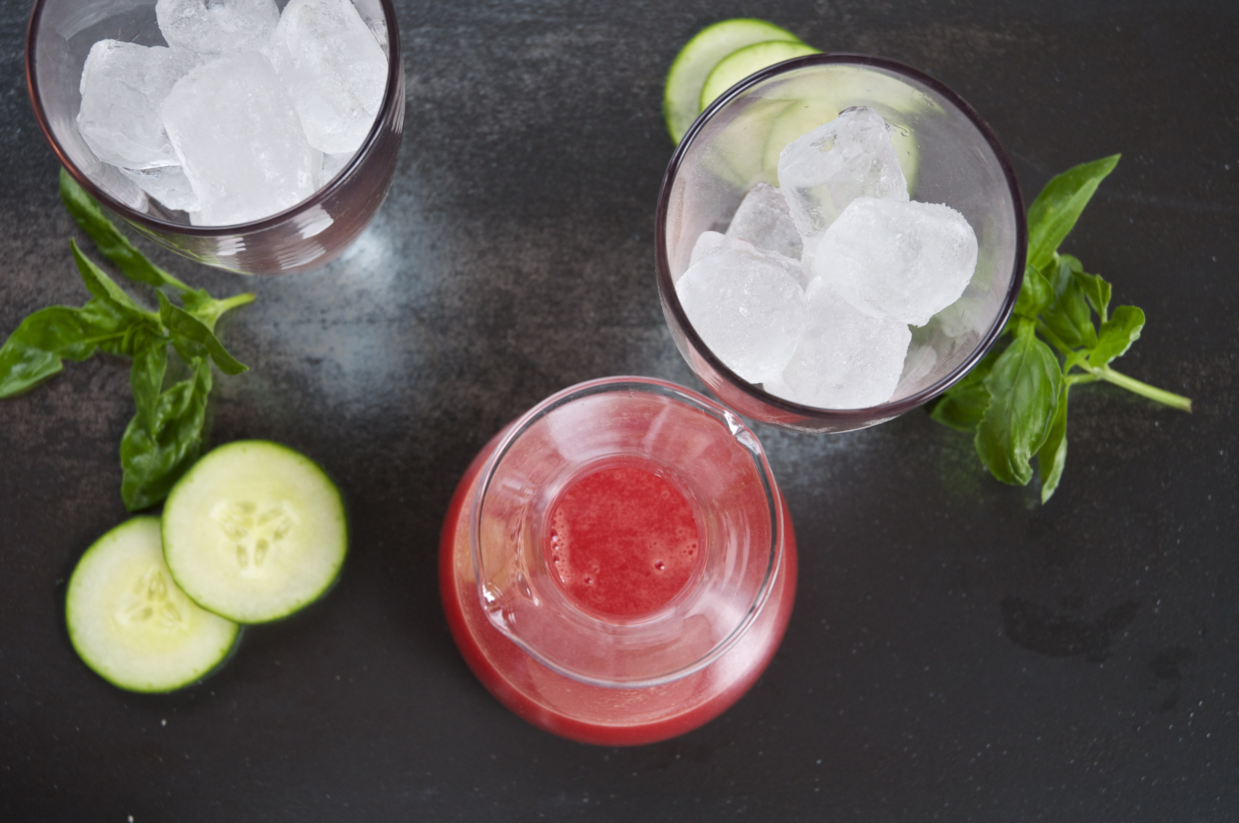 watermelon + basil + cucumber + gin cocktail | holly & flora