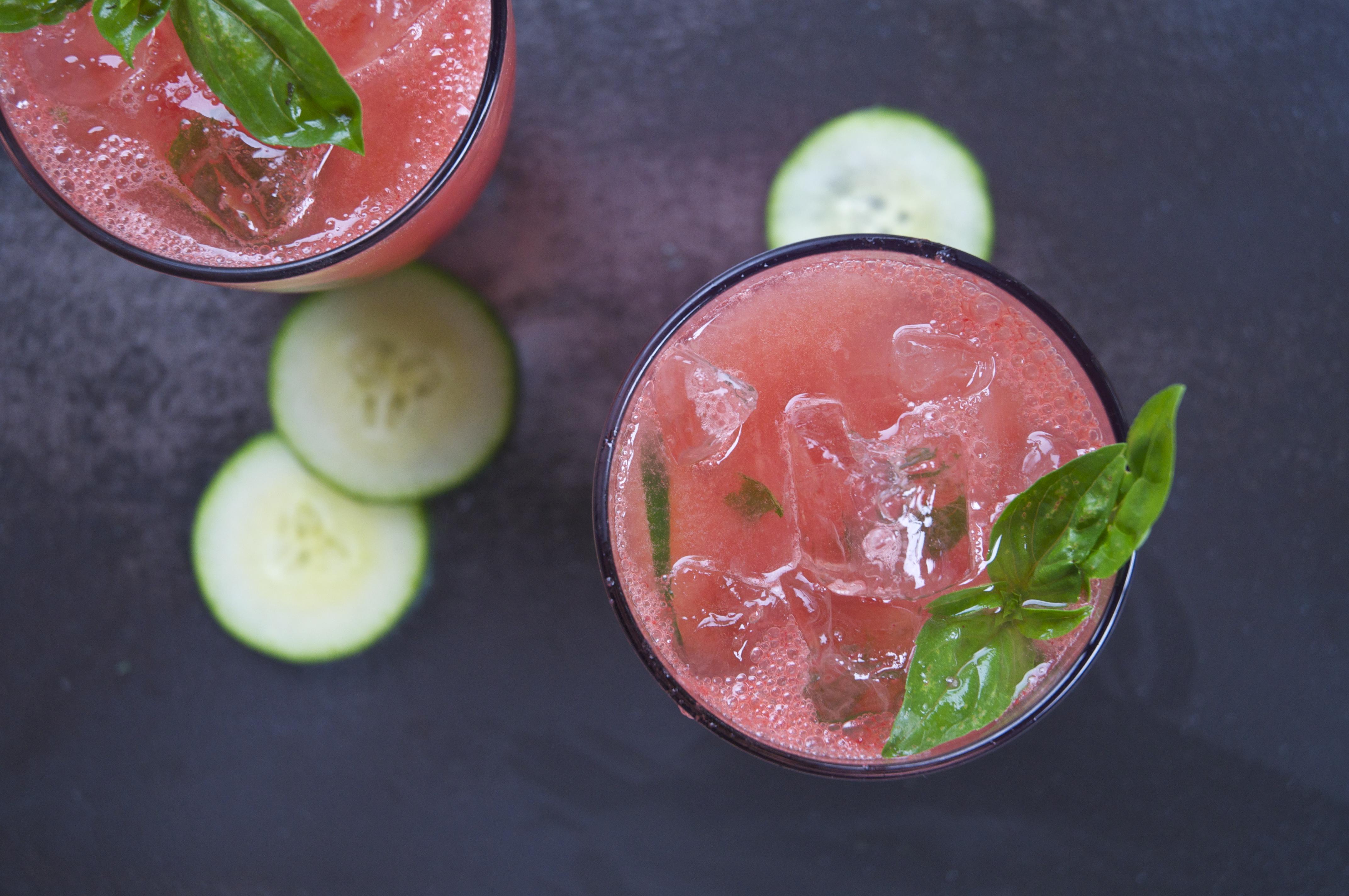 watermelon + basil + cucumber + gin cocktail   holly & flora