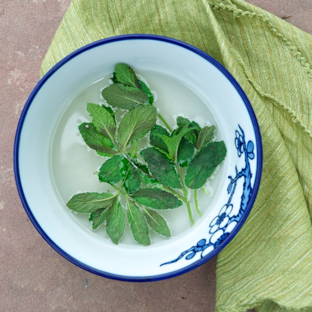 making mint simple syrup