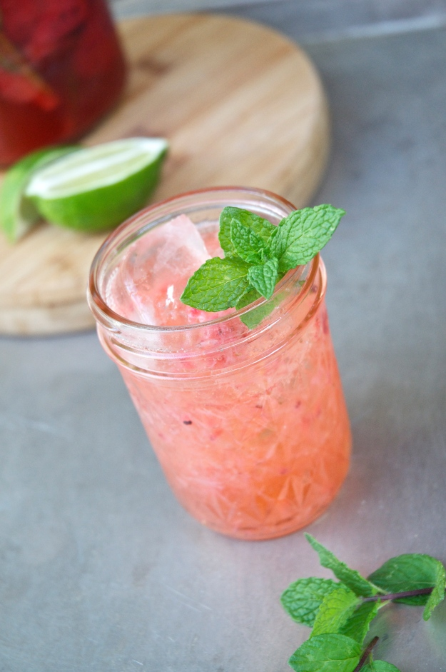 gin + pickled strawberries + mint simple syrup + freshly squeezed lime juice