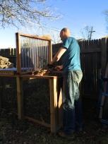 Steve composting the summer garden