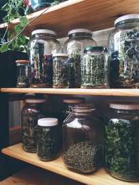 Our dried herb collection from the summer garden. We are blending them today!