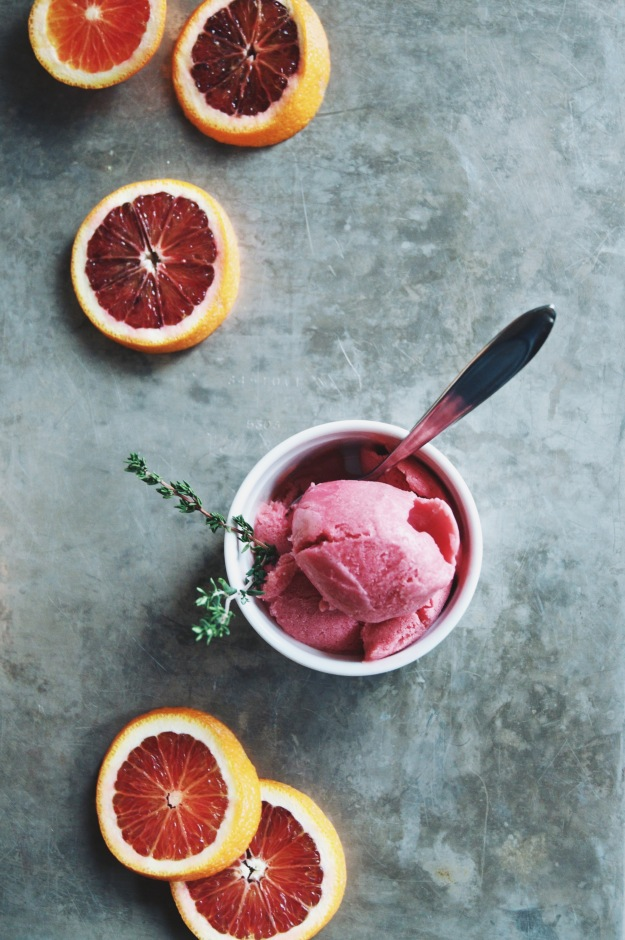 overhead view of blood orange sherbet with orange slices