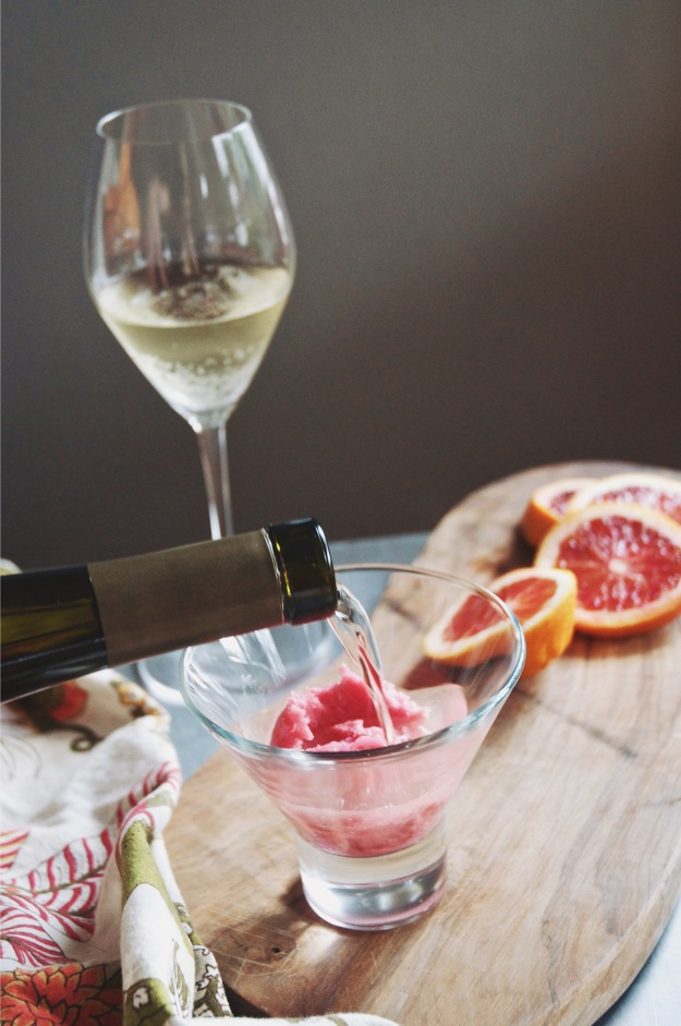 blood orange sherbet with moscato