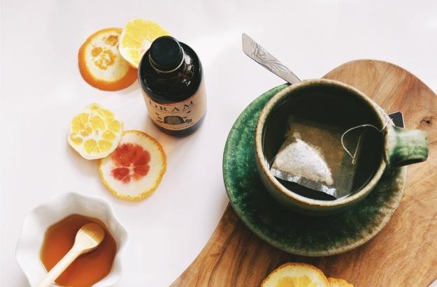 tea with orange slices
