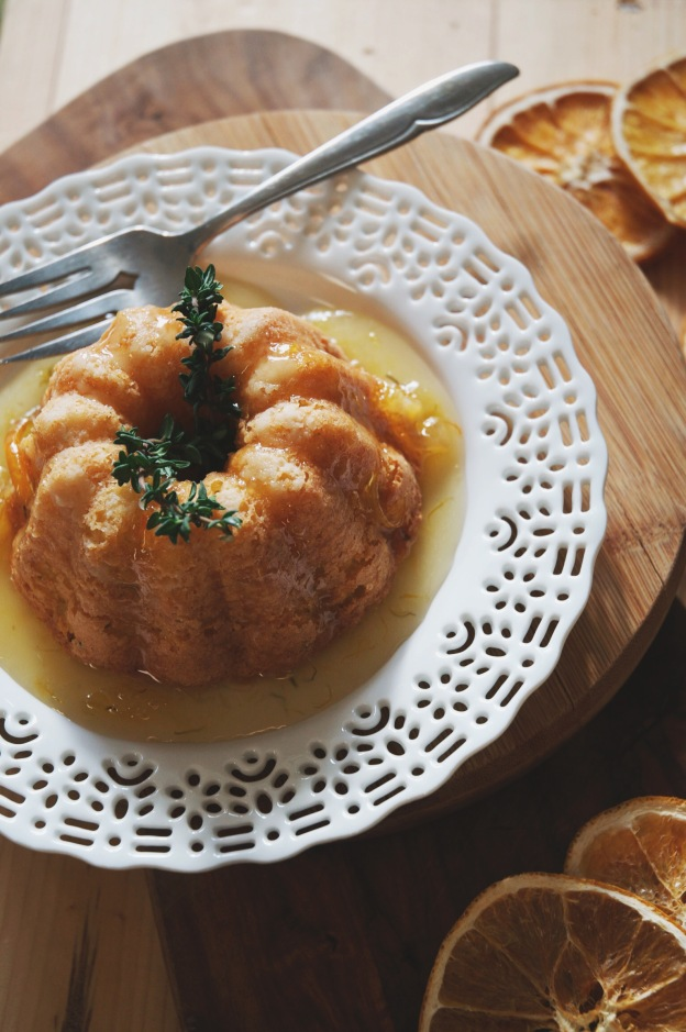 bundt cake with thyme sprig