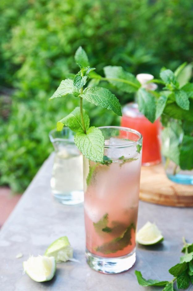 strawberry rhubarb shrub mojito   holly & flora