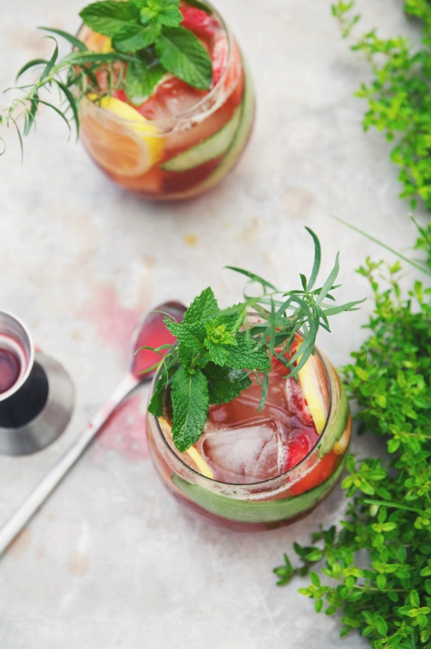 pimm's cup with blackberry + lemon zest shrub | holly & flora