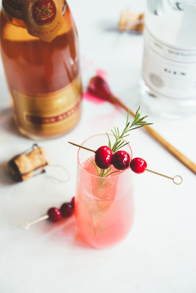 tart cranberry gin sparklers | holly & flora