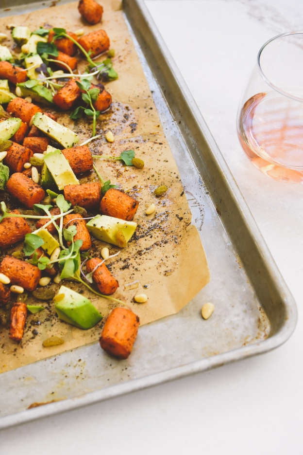 """rosé with spice-roasted carrot + avocado salad 