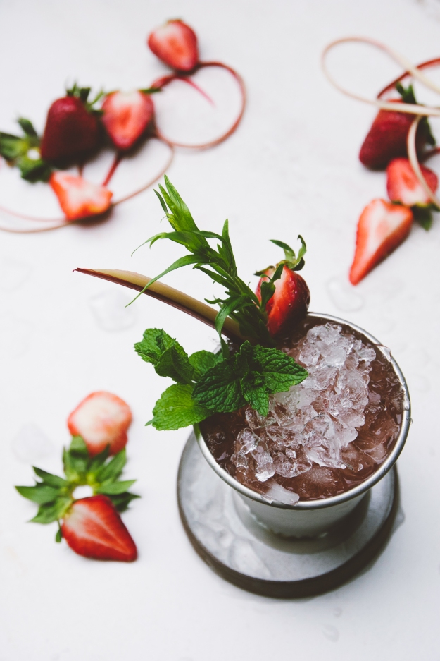mint juleps with rhubarb liqueur, strawberry + tarragon | holly & flora