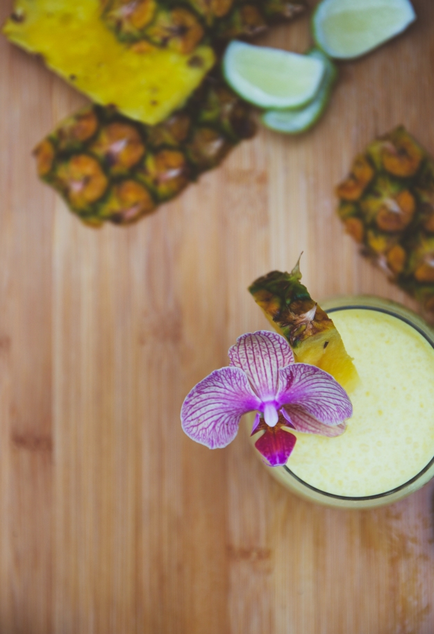 frozen pineapple + coconut daiquiris | my dad's cocktail garden | holly & flora