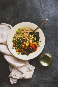 """On an evening in at the house, we made grain bowls with vegetables that Sherrie roasted. I couldn't resist pairing mine with a glass of 2013 Hyde de Villaine """"Hyde Vineyard"""" Chardonnay."""