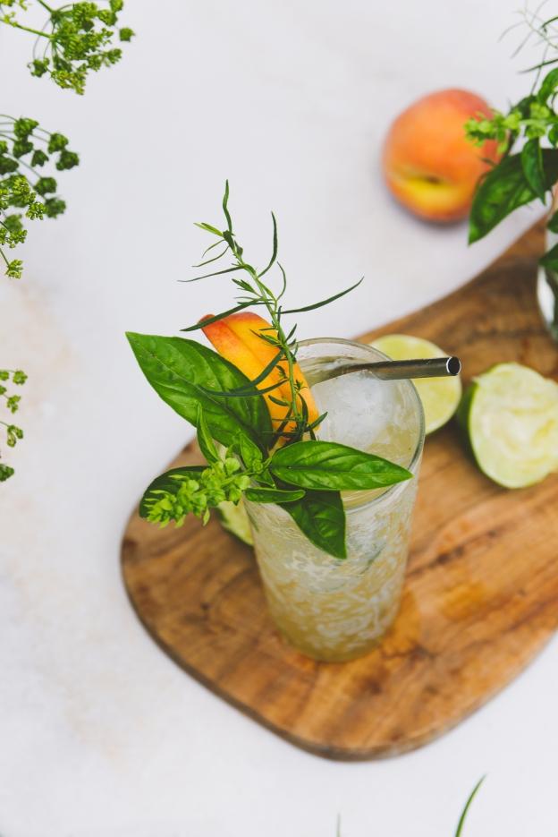 palisade peach, basil + tarragon spritzes | rituals | holly & flora