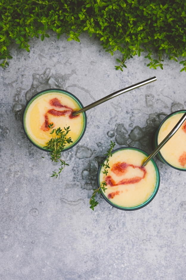 white wine slushies with peaches, mate gin + blackberry liqueur | holly & flora