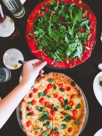 When in Minneapolis, a trip to Pizzeria Lola is a MUST. Their GF pizza crusts have the best texture. We devoured bowls of veggies and put even more of them on our pizzas.